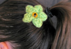 One-Eyed Pivoting GREEN FLOWER MONSTER Hair Pin - Exclusive Aberrant Crochet Original Design