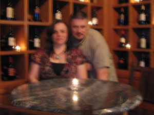 Blurry John and I at Pizzeria Corvina For Birthday Weekend!