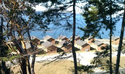 View of the cabins from the new hall above where we had the cardigan class.