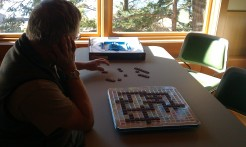 Dennis (Amy's hubby) is still working on the Scrabble board.