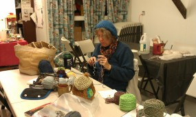 Back down to the Fire Truck House where Deb (CerDeb) is taking a quiet moment to crochet.