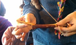 "Back to Jimbo's shawl pin carving class. Deb's dropped by with the ""challenge"" hook that Jimbo assigned Don last year. What a unique piece of wood!"