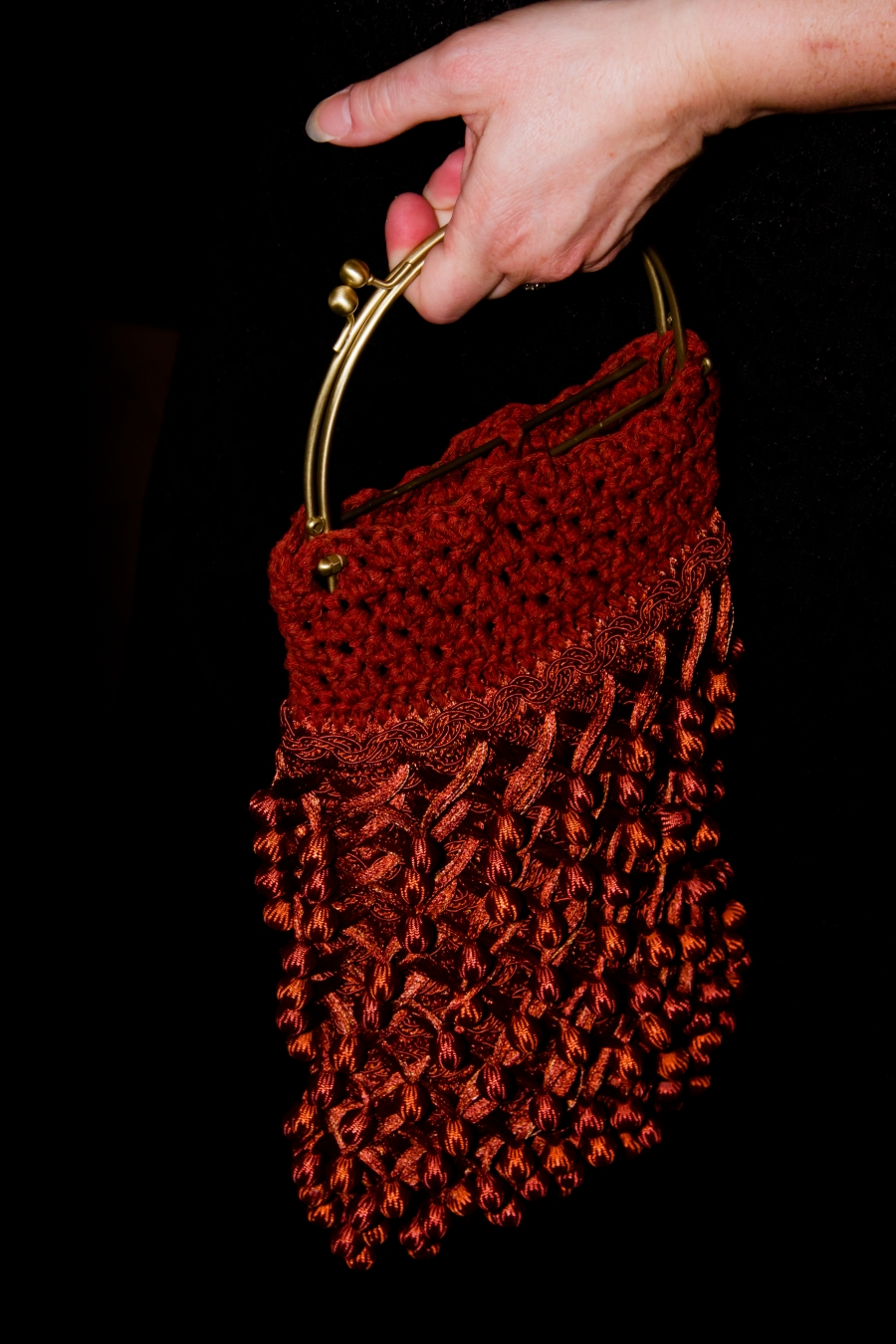 Flapper Purse in Silk and Rust