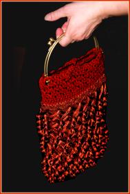 Crochet Flapper Purse in Silk and Rust