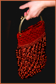 Crochet Flapper Purse in Silk and Rust