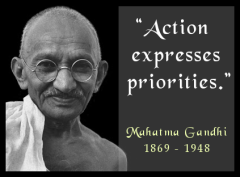 Mahatma Gandhi - Action Expresses Priorities - Designed by Aberrant Crochet
