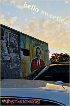 Mr Rogers mural at Home Slice - Austin Texas - by AberrantCrochet 2015