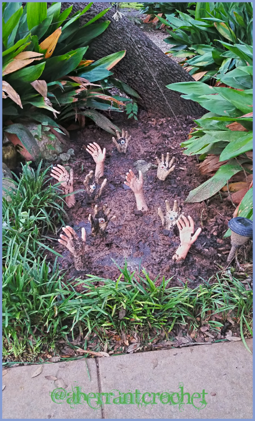 Patch of Doctor Who Hand Mines In The Flower Bed For Halloween