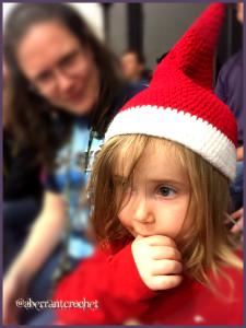 Toddler Christmas Elf Hat - By Aberrant Crochet - Photo by Caroline Gukian and model child Smith