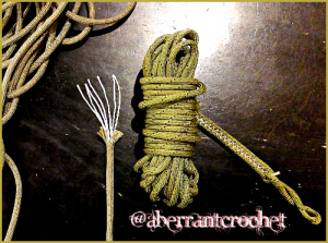 550 paracord with 7 strand gut - image owned by Aberrant Crochet