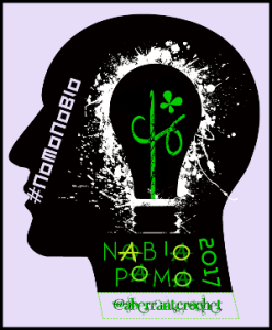 NaBloPoMo #NoMoNoBlo 2017 Anarchy Badge - designed by Aberrant Crochet